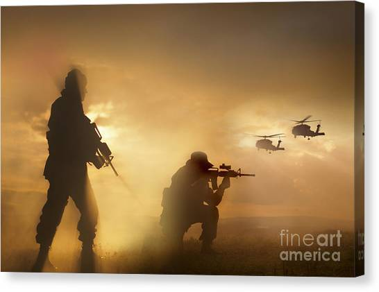 Hawks Canvas Print - U.s. Special Forces Provide Security by Tom Weber