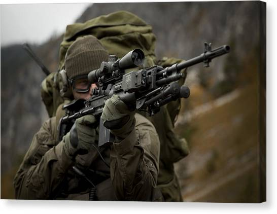 Navy Seal Canvas Print - U.s. Special Forces Soldier Armed by Tom Weber
