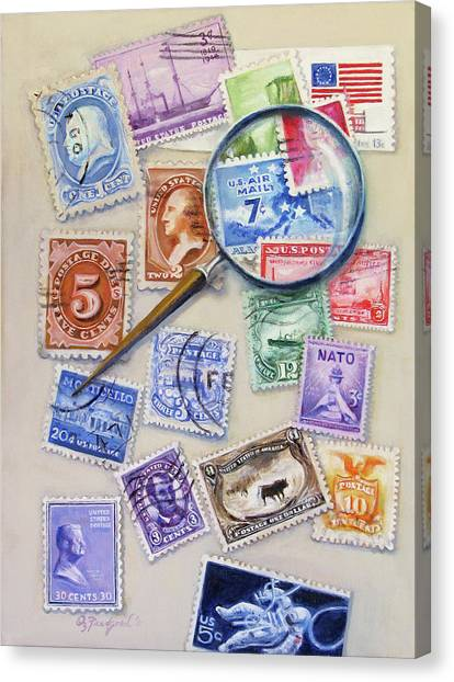 U.s. Stamp Collection Canvas Print