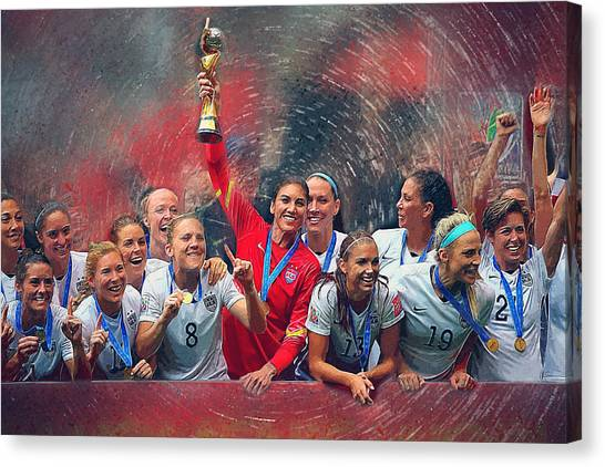 Chelsea Fc Canvas Print - Us Women's Soccer by Semih Yurdabak