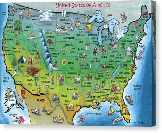 Usa Cartoon Map Canvas Print