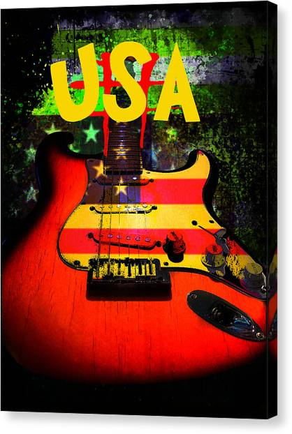 Usa Guitar Music Canvas Print