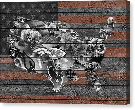 New York Jets Canvas Print - Usa Nfl Map Collage 4 by Bekim Art