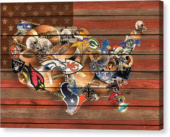 Linebackers Canvas Print - Usa Nfl Map Collage 6 by Bekim Art