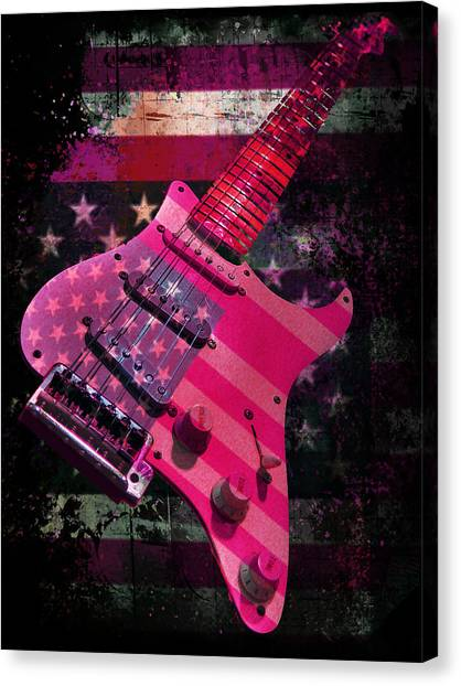 Usa Pink Strat Guitar Music Canvas Print