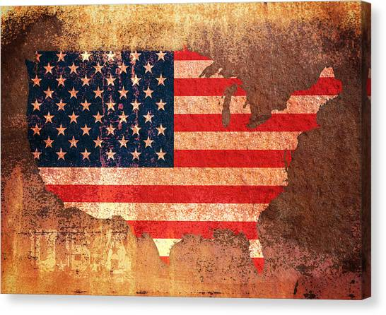 Flag Canvas Print - Usa Star And Stripes Map by Michael Tompsett