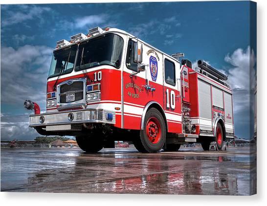 Truck Driver Canvas Print - Usaf Lakenheath Fire Truck by Gill Billington