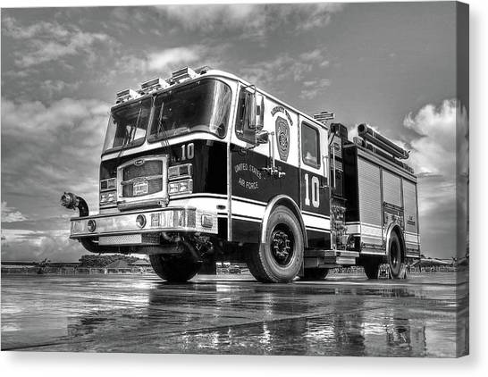 Truck Driver Canvas Print - Usaf Lakenheath Fire Truck In Black And White by Gill Billington