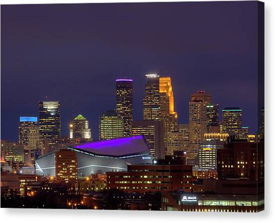 Usbank Stadium Dressed In Purple Canvas Print