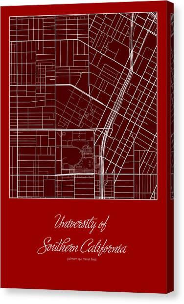 University Of Southern California Usc Canvas Print - Usc Street Map - University Of Southern California Los Angeles M by Jurq Studio