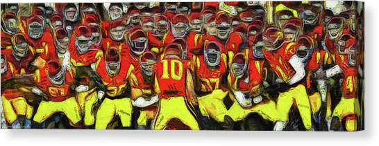 University Of Southern California Usc Canvas Print - Usc Trojan Football by Tommy Anderson