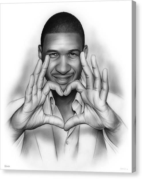 Singer Canvas Print - Usher by Greg Joens