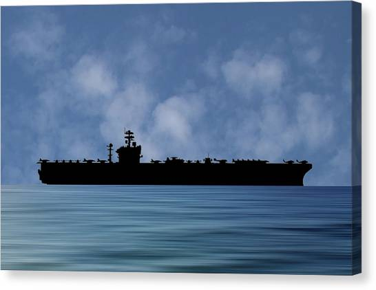 Aircraft Carrier Canvas Print - Uss Abraham Lincoln 1988 V1 by Smart Aviation