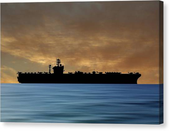 Aircraft Carrier Canvas Print - Uss Abraham Lincoln 1988 V2 by Smart Aviation