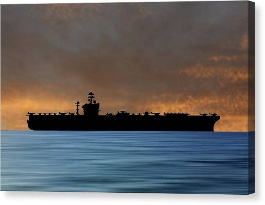 Aircraft Carrier Canvas Print - Uss Abraham Lincoln 1988 V3 by Smart Aviation