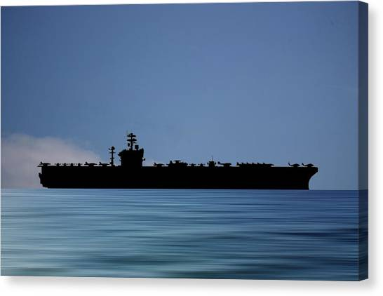 Aircraft Carrier Canvas Print - Uss Abraham Lincoln 1988 V4 by Smart Aviation