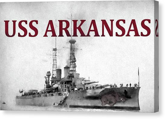 University Of Arkansas University Of Arkansas Canvas Print - Uss Arkansas by JC Findley