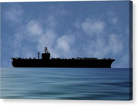 Aircraft Carrier Canvas Print - Uss Carl Vinson 1982 V1 by Smart Aviation