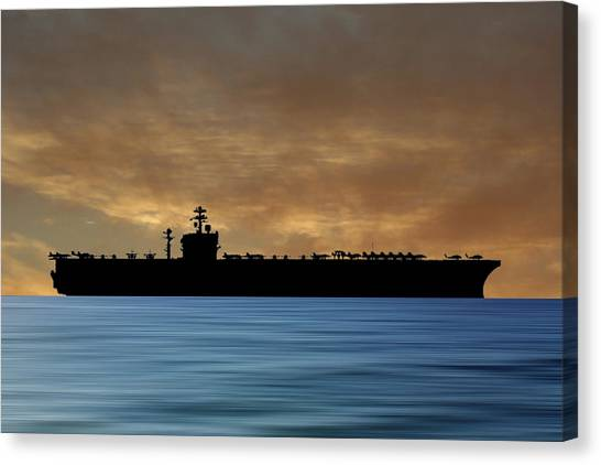 Aircraft Carrier Canvas Print - Uss Carl Vinson 1982 V2 by Smart Aviation