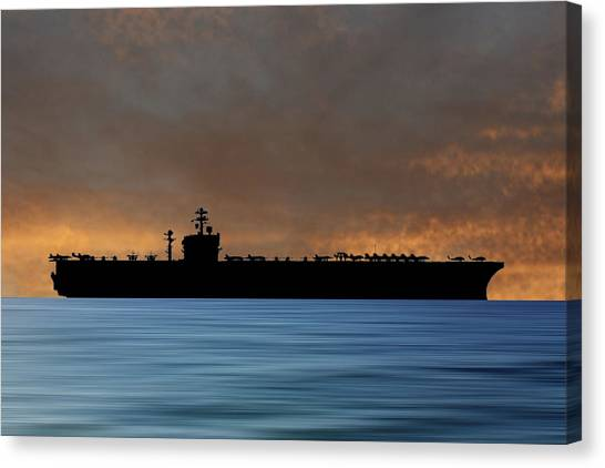 Aircraft Carrier Canvas Print - Uss Carl Vinson 1982 V3 by Smart Aviation