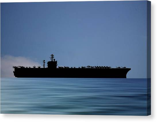 Aircraft Carrier Canvas Print - Uss Carl Vinson 1982 V4 by Smart Aviation