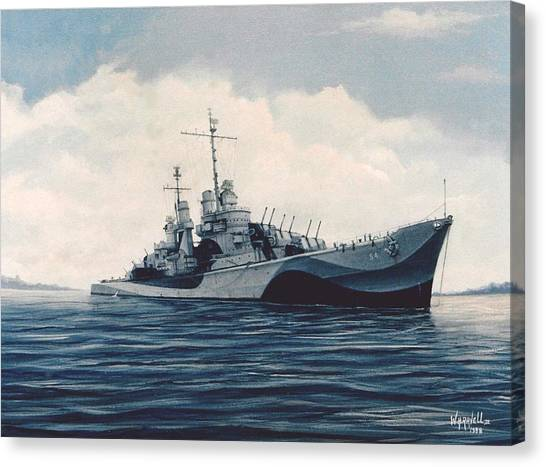 Uss  Cruiser San Juan Canvas Print by William H RaVell III