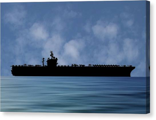 Aircraft Carrier Canvas Print - Uss  Dwight D. Eisenhower 1977 V1 by Smart Aviation