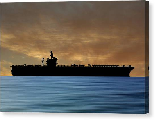 Aircraft Carrier Canvas Print - Uss  Dwight D. Eisenhower 1977 V2 by Smart Aviation