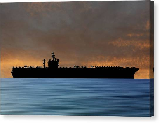 Aircraft Carrier Canvas Print - Uss  Dwight D. Eisenhower 1977 V3 by Smart Aviation