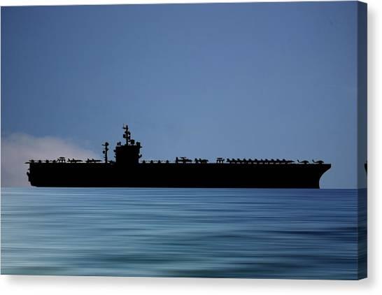 Aircraft Carrier Canvas Print - Uss  Dwight D. Eisenhower 1977 V4 by Smart Aviation