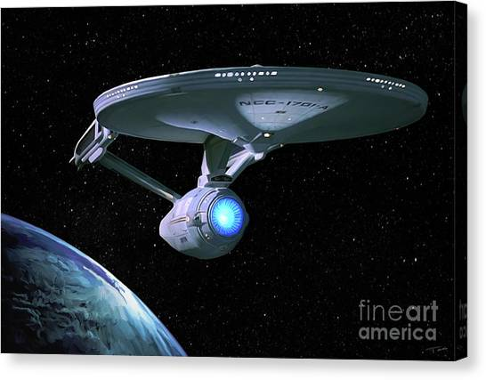 Spock Canvas Print - Uss Enterprise Refit by Paul Tagliamonte