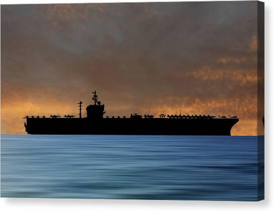 Aircraft Carrier Canvas Print - Uss George Washington 1992 V3 by Smart Aviation