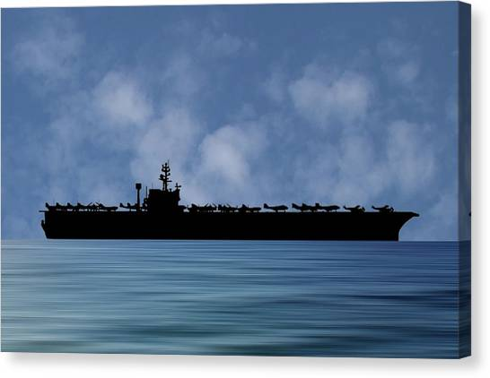 Aircraft Carrier Canvas Print - Uss John F. Kennedy 1968 V1 by Smart Aviation
