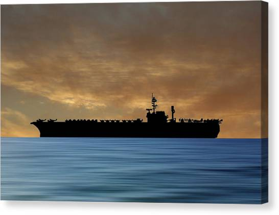Hawks Canvas Print - Uss Kitty Hawk 1955 V2 by Smart Aviation
