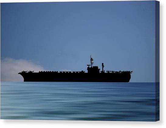 Aircraft Carrier Canvas Print - Uss Kitty Hawk 1955 V4 by Smart Aviation
