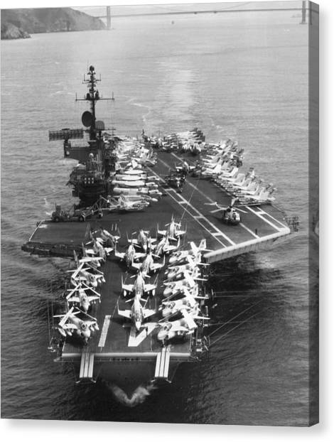 Vietnam War Canvas Print - Uss Midway Leaves Sf by Underwood Archives