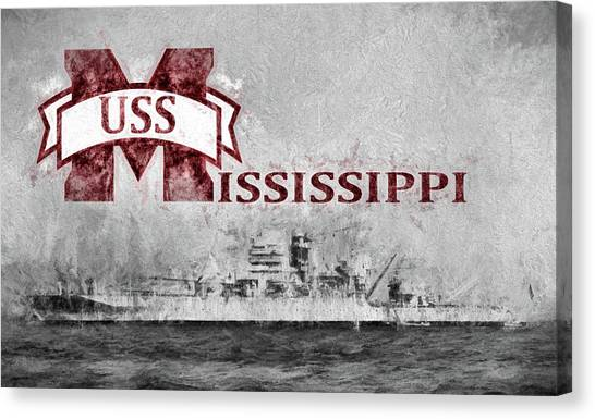 Mississippi State University Canvas Print - Uss Mississippi by JC Findley