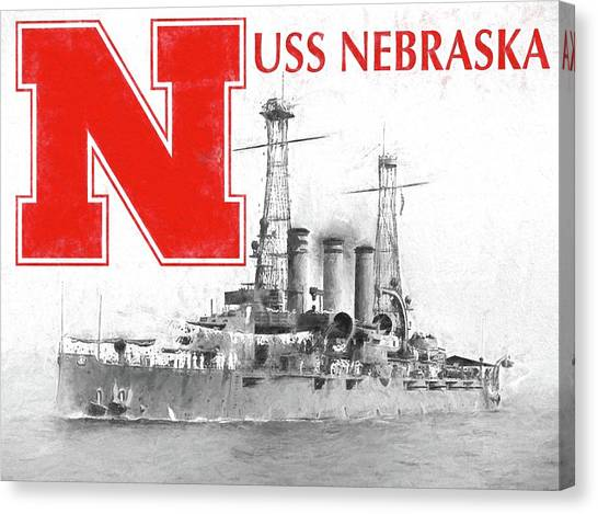 University Of Nebraska Canvas Print - Uss Nebraska by JC Findley