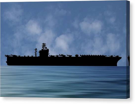Aircraft Carrier Canvas Print - Uss Nimitz 1975 V1 by Smart Aviation