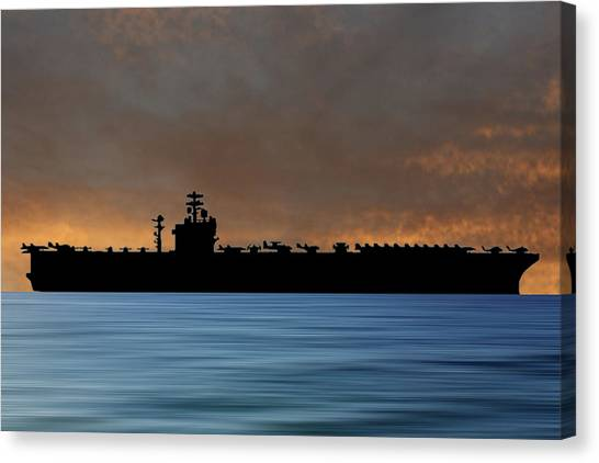 Aircraft Carrier Canvas Print - Uss Nimitz 1975 V3 by Smart Aviation