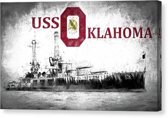 Oklahoma University Canvas Print - Uss Oklahoma by JC Findley
