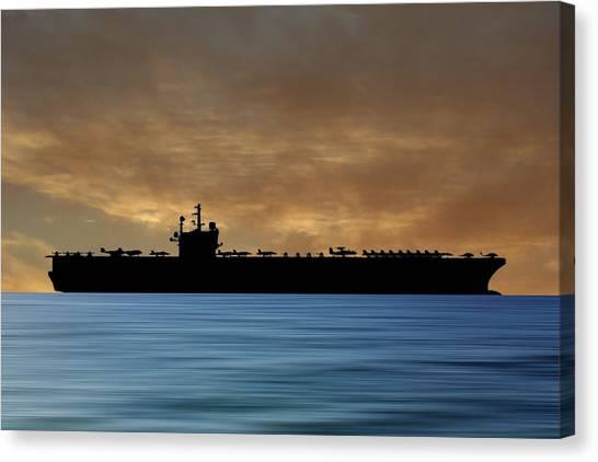 Aircraft Carrier Canvas Print - Uss Ronald Regan 2003 V2 by Smart Aviation