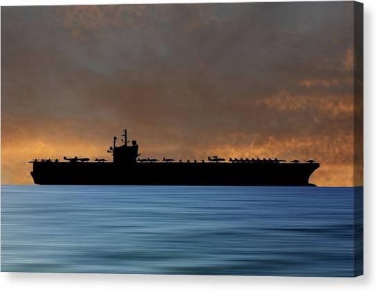Aircraft Carrier Canvas Print - Uss Ronald Regan 2003 V3 by Smart Aviation