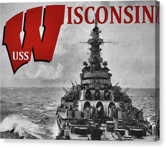 University Of Wisconsin - Madison Canvas Print - Uss Wisconsin by JC Findley