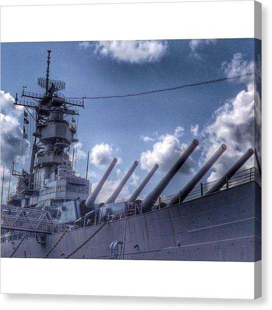 Battleship Canvas Print - #usswisconsin #battleship #norfolk by Pete Michaud