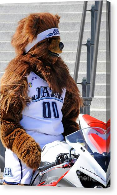 Utah Jazz Canvas Print - Utah Jazz Bear by Dennis Hammer