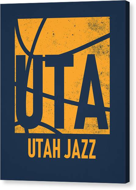 Utah Jazz Canvas Print - Utah Jazz City Poster Art by Joe Hamilton
