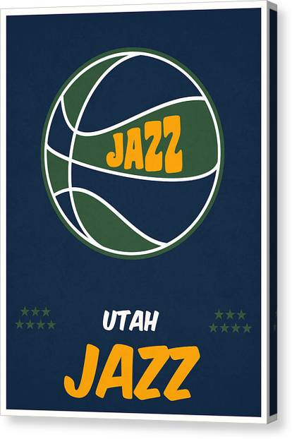 Utah Jazz Canvas Print - Utah Jazz Vintage Basketball Art by Joe Hamilton