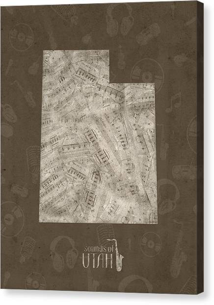Utah Jazz Canvas Print - Utah Map Music Notes 3 by Bekim Art
