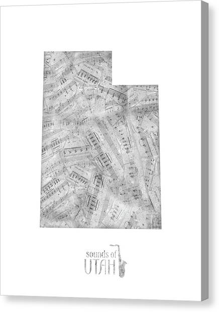 Utah Jazz Canvas Print - Utah Map Music Notes by Bekim Art